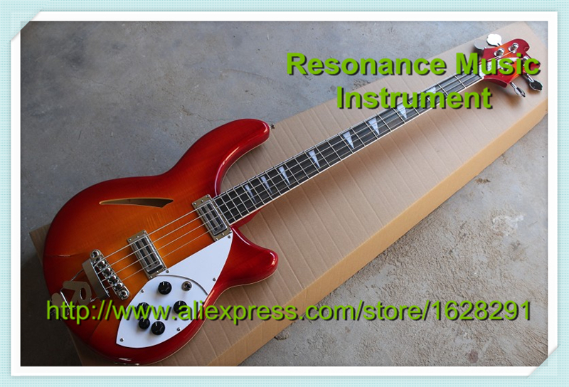 Custom Shop 4 String Rick Electric Bass Guitar In Cherry Sunburst Chinese Hollow Guitars Body & Kit Custom Available high quality custom shop lp jazz hollow body electric guitar vibrato system rosewood fingerboard mahogany body guitar
