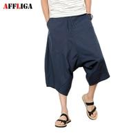 Pamuklu erkek Keten Pantolon Yaz Ortalarında Bel Gevşek Eğlence Hip-Hop Harem Pantolon Katı Renk İpli Büyük Boy Erkek Rahat pantolon