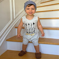 2017 New Fashion Baby Boys Summer Romper Sleeveless Cotton Playsuit Children Toddler Cute Arrow Print Jumpsuit 30C