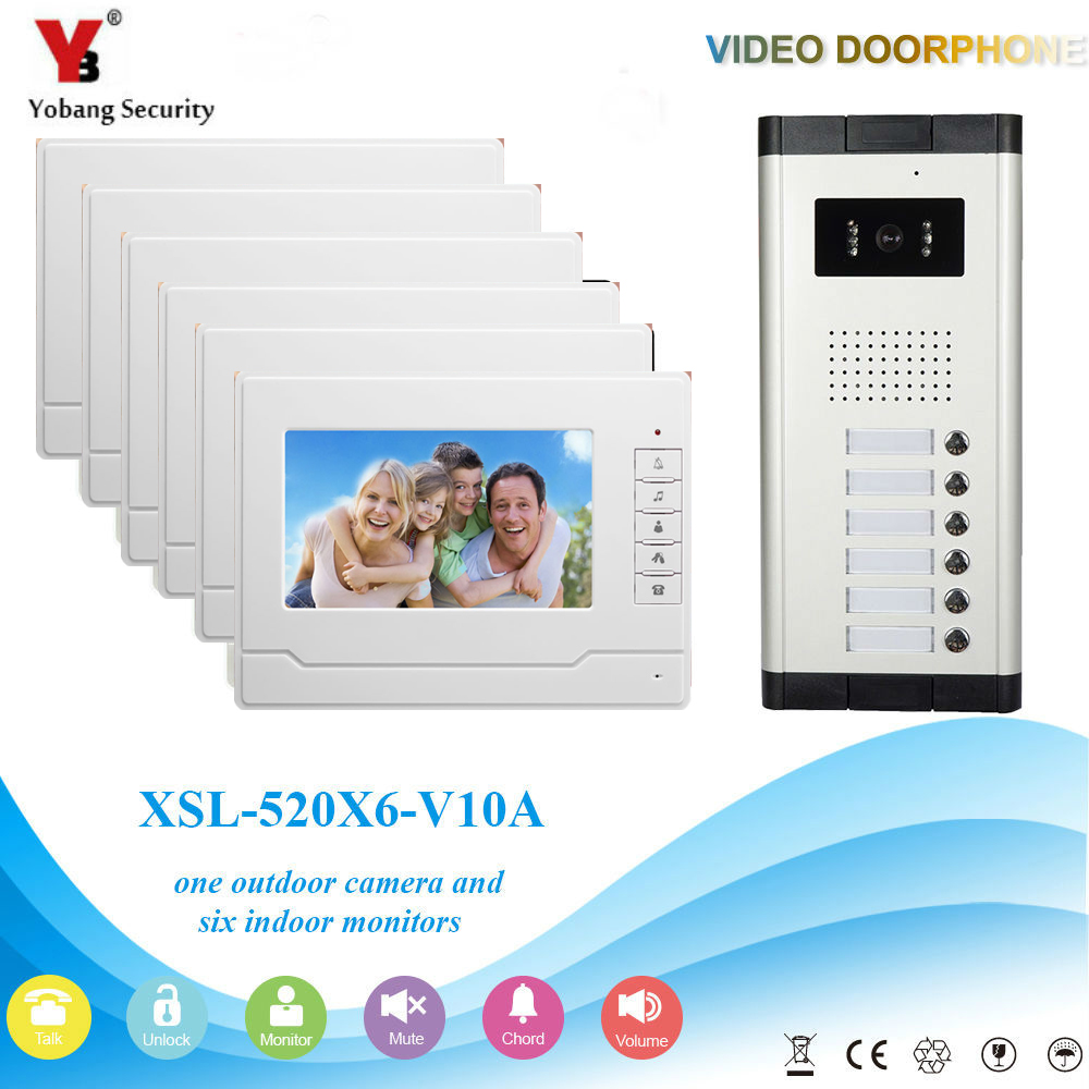 YobangSecurity Video Intercom 7Inch Wired Video Door Phone Doorbell Intercom Monitor Camera Bell System For 6 Units Apartment apartment intercom system 7 inch monitor 6 units apartment video door phone intercom system video intercom doorbell kit