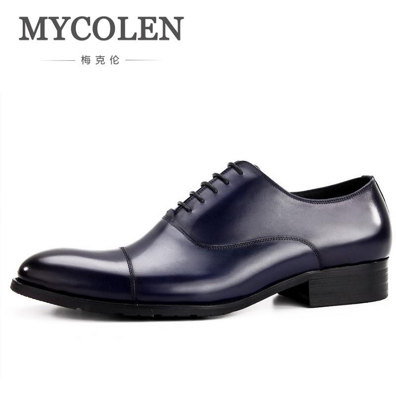 Sapatos Chaussure azul Oxfords Mycolen Estilo Cuir vermelho up Britânico Lace coffee Homem Novas 2019 Apontado laranja Casuais Vestido Vinho Chegam Primavera Homme Dedo Homens Preto aqAC8aw