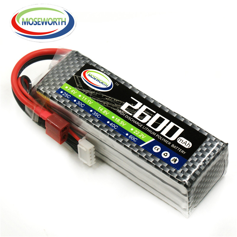 MOSEWORTH RC drone lipo battery 4s 14.8v 2600mAh 30C For RC airplane quadcopter car batteria akku free shipping moseworth 2s rc drone lipo battery 7 4v 6000mah 40c for rc airplane tank car 2s batteria cell akku
