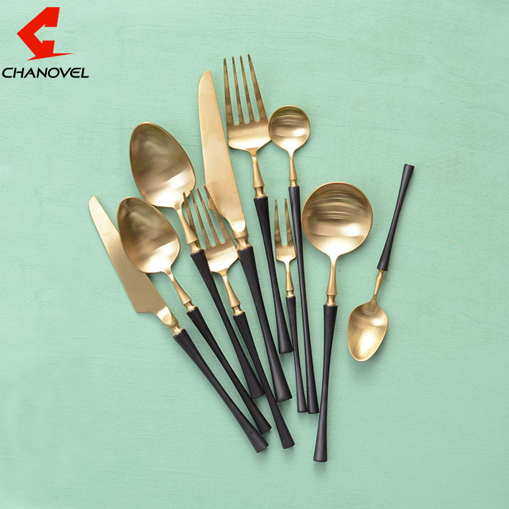 CHANOVEL Black-Gold 304 Stainless Steel Butter Knife Dessert Fork Western  Dinnerware Tableware Set