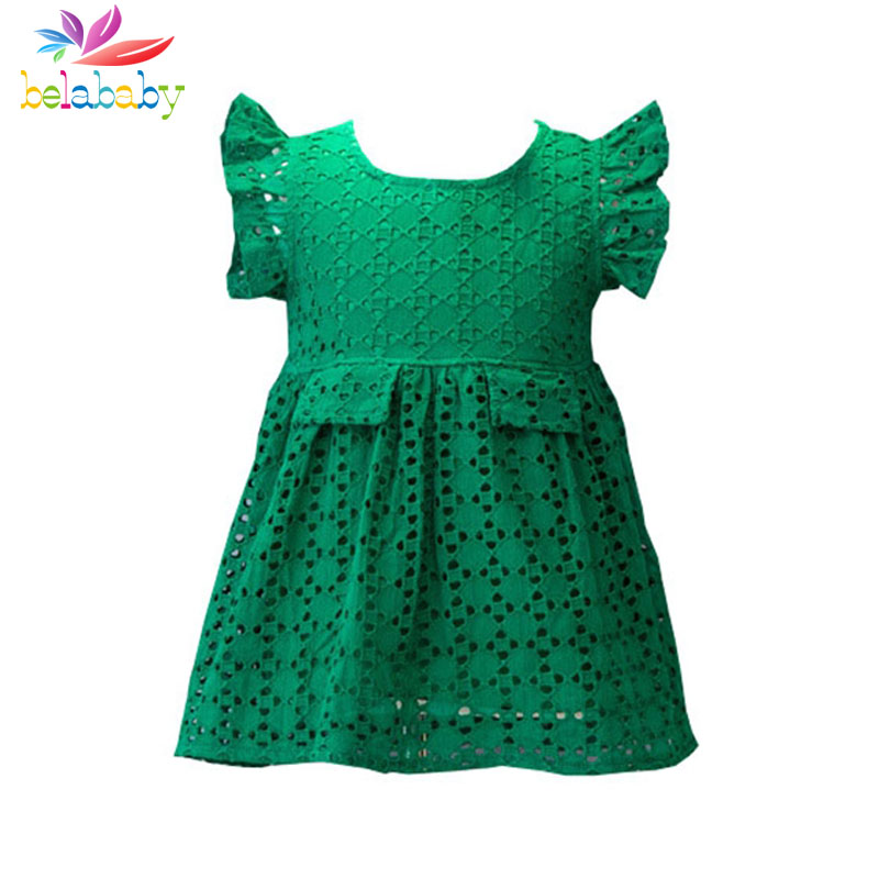 Belababy Girl Dress Summer Girls Dresses Hollow Out Green Short Wings Sleeve Vestidos Geometric Designer Kids Clothing