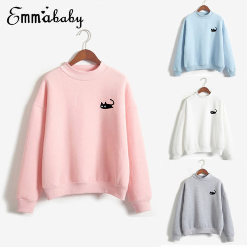 Hot Overhead Stylish Chic Cat Print Autumn Winter Casual Hoodies Sweatshirts Hoodies Jumper Pullover Lovers' Clothes For Gift