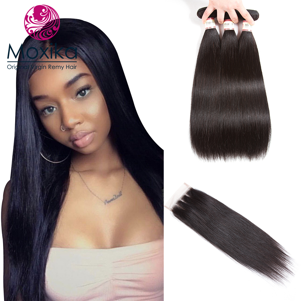Moxika Brazilian Hair Weave Bundles Straight hair 3 bundles with closure 4pcs/lot 100% human hair with closure 8-28inch Remy
