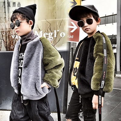 Veste garçon plus velours chaud uniforme de baseball pour enfants manteau en fausse fourrure pour enfants modèles d'automne et d'hiver école primaire childr