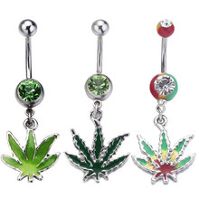 1PC Silver Color Piercing Ombligo Crystal Belly Button Rings Jamaica Maple Leaf Body Piercing Jewelry Piercing Navel Accessories(China)