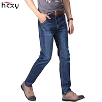2017New Men Jeans Business Casual Four Seasons Slim Fit Blue Jeans Stretch Denim Pants Trousers Young