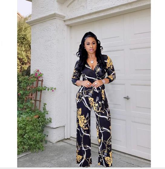 2019 Afrikaanse Jurk Hot Style Print Casual Tailleband Brede Been Jumpsuit