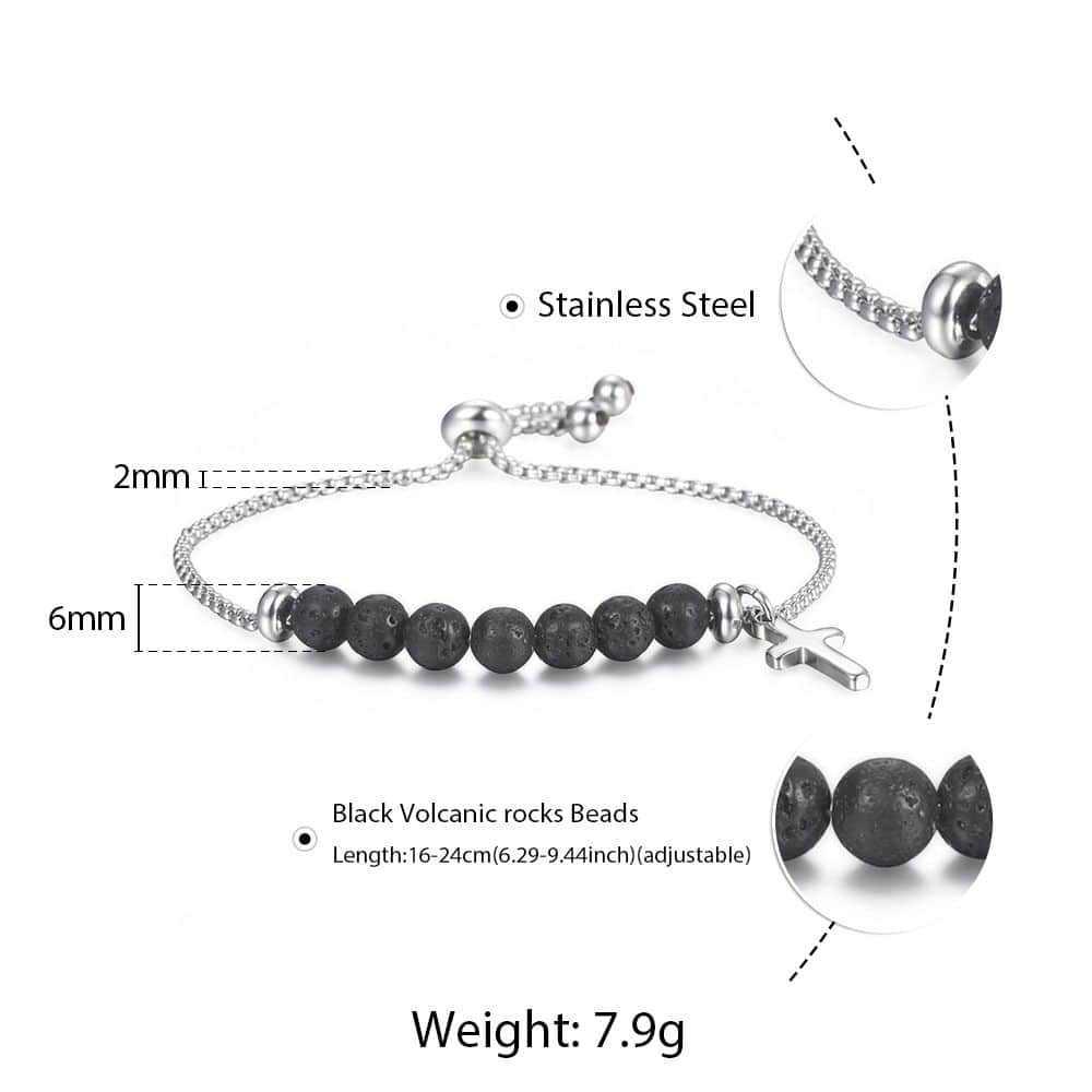 Trendsmax クロス溶岩ビーズのためのメンズレディースブラックエッセンシャルオイルディフューザーステンレス鋼調節可能なジュエリー DB207