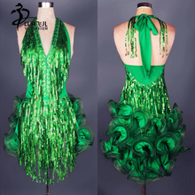 Green sequins sexy Latin salsa tango backless Ballroom Competition Sequined sleeveless Evening Dance Dress adult