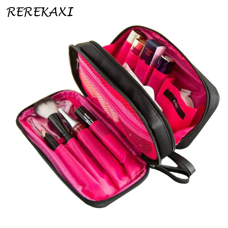 REREKAXI New Waterproof Cosmetic Bag Organizer Woman Make Up Bag Travel Toiletry Storage Bags Professional Brush Case Toilet Bag