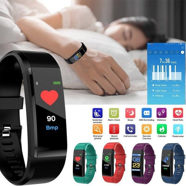 115 PLUS Smart Watch Heart Rate Monitor Blood Pressure Fitness Tracker Smartwatch Sport Watch for ios android + BOX Men Women