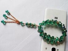 *Jewelry factory New design Malachite green crystal Muslim bracelet, fashion elastic plated gold Muslim chain bracelet jewelry