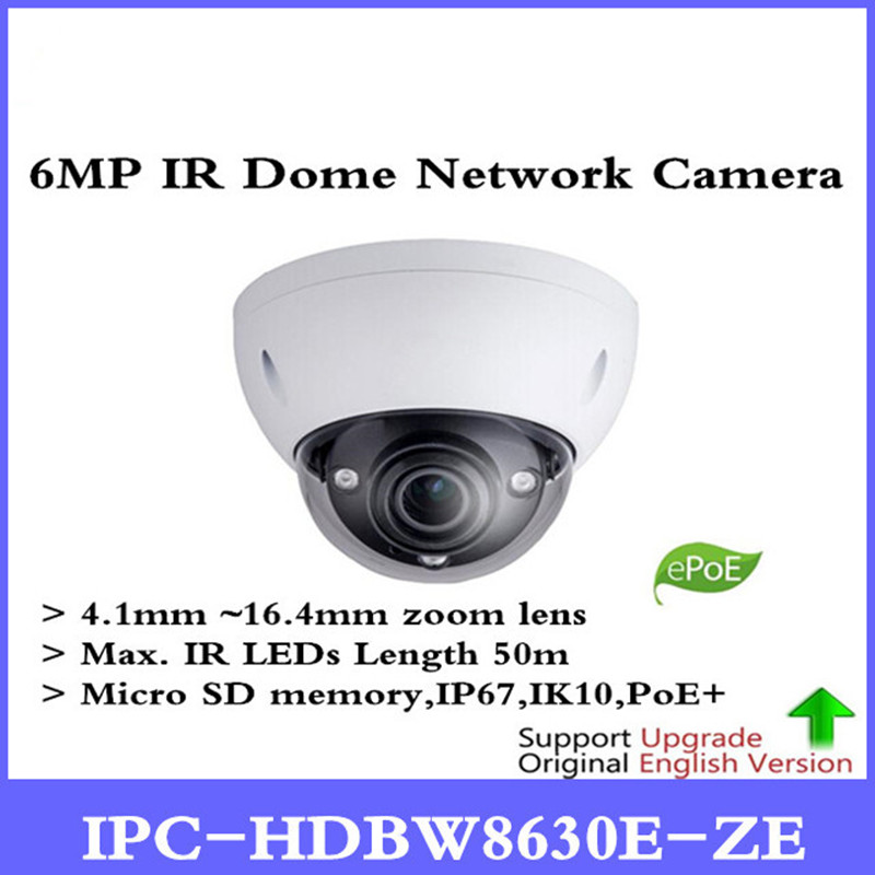 Original Anglais DH IPC-HDBW8630E-Z 6MP IR Dôme Réseau Caméra 4.1mm ~ 16.4mm objectif motorisé IPC-HDBW8630E-ZE sans Logo
