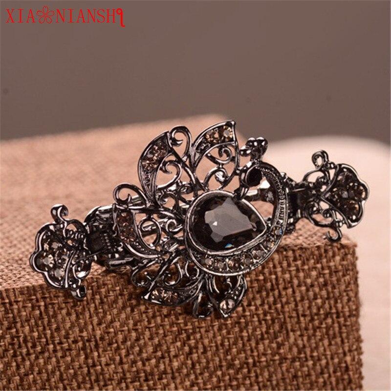 Strat de lux de cristal de păun și de flori de gheare de păr - Bijuterii de moda - Fotografie 5