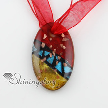 oval glitter lampwork murano Italian venetian handmade glass pendatns necklace cheap fashion jewlery