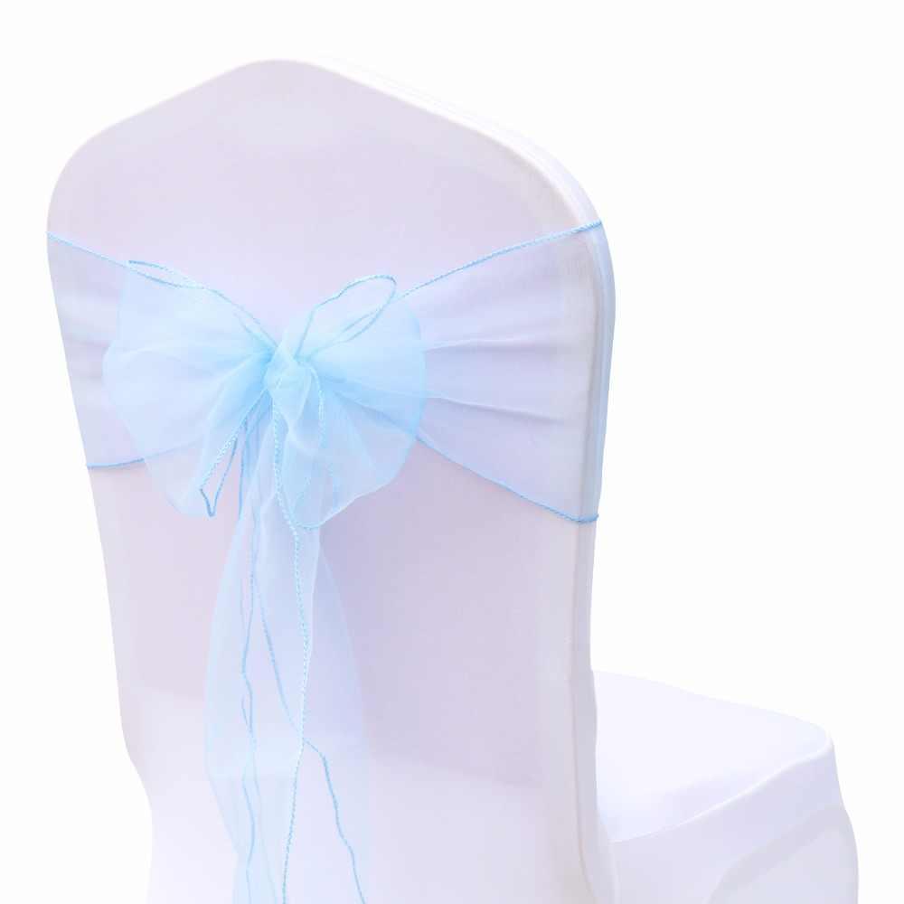 100 шт. 18 см x 275 см мятный зеленый/белый/бордовый Свадебный Банкетный стул органза украшения поставки-Бесплатная доставка