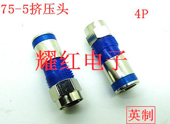 Connector 5PCS Full Copper Compress Type F Head 75 5 RG 6 Inch Joint Extrusion Head Connector Cable TV image
