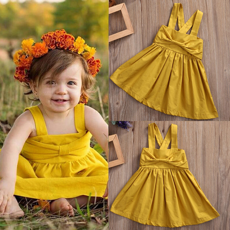 US Toddler Kids Baby Girls Party Bow Halter Backless Tutu Dress Sunsuit Clothes