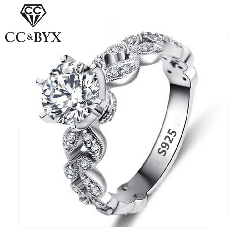 1.5 Carat Zirconia Wedding Engagement Rings For Women White Gold Plated Fashion Jewelry Female Ring Bijoux Bague Wholesale CC097