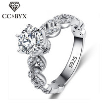 1.5 Carat Zirconia Wedding Engagement Rings For Women White Gold Color Fashion Jewelry Female Ring Bijoux Bague Wholesale CC097