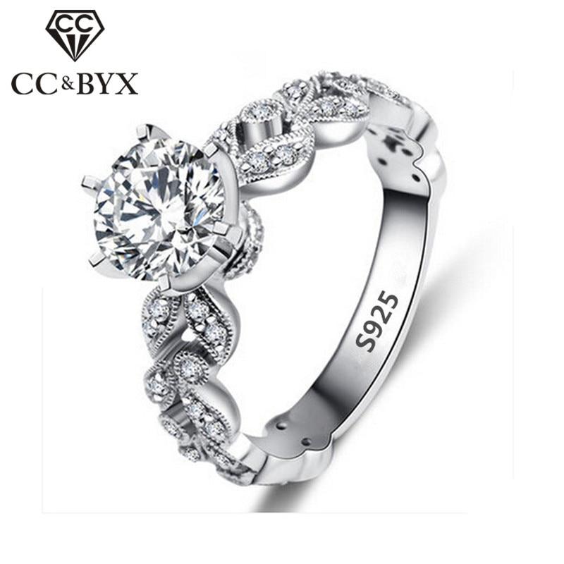 1,5 Karat Zirkonia Hochzeit Verlobungsringe Für Frauen Weißes Gold Farbe Modeschmuck Weibliche Ring Bijoux Bague Großhandel Cc097 Verschiedene Stile