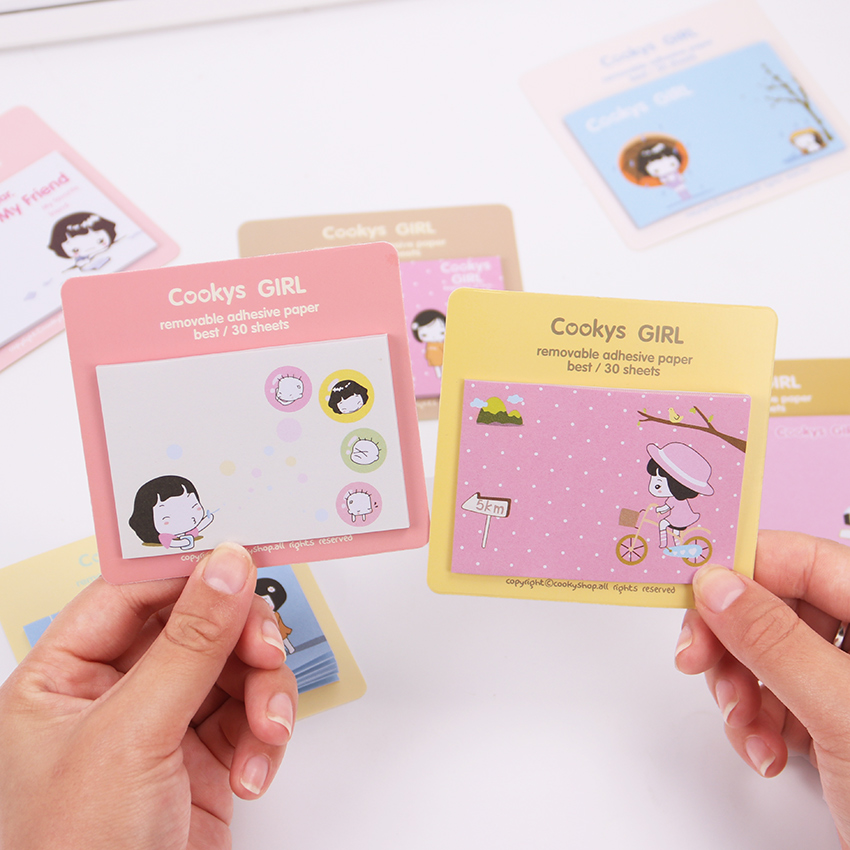 Cartoon Cute Cookys Girl Memo Pad Sticky Note Stick Memo Paper Bookmark Office Stationery Stickers
