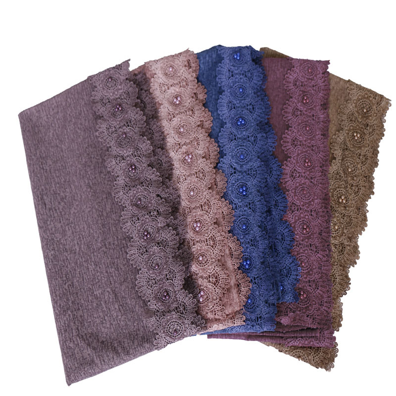 2019 floral lace hijab scarf maxi stretchy wraps cotton bandhnu shawls muslim scarves headband wraps islamic