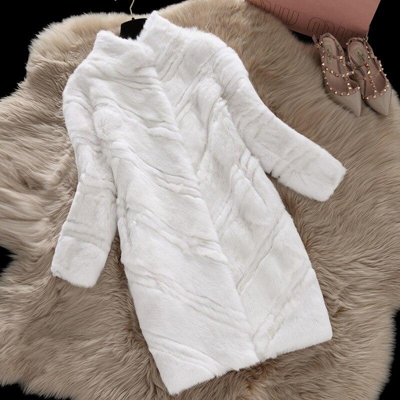 527983c982b Натуральный кроличий мех пальто женские осенние и зимние 2018 Тонкие  Длинные Полный Пелт кроличий мех пальто