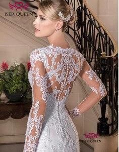 Image 1 - אירופה חדשה אופנה תפור לפי מידה ארוך שרוול אשליה תחרת רקמת בת ים חתונה שמלה 2020 טהור לבן חתונה שמלות W0149