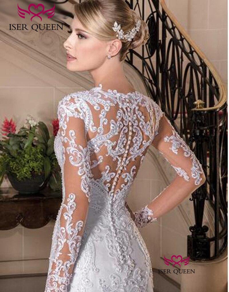 Europe New Fashion Custom Made Long Sleeve Illusion Lace Embroidery Mermaid Wedding Dress 2019 Pure White Wedding Dresses W0149