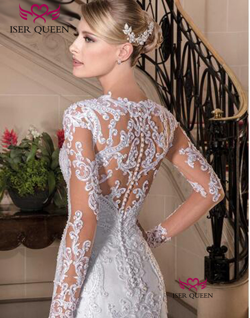 Europe New Fashion Custom Made Long Sleeve Illusion Lace Embroidery Mermaid Wedding Dress 2020 Pure White Wedding Dresses W0149