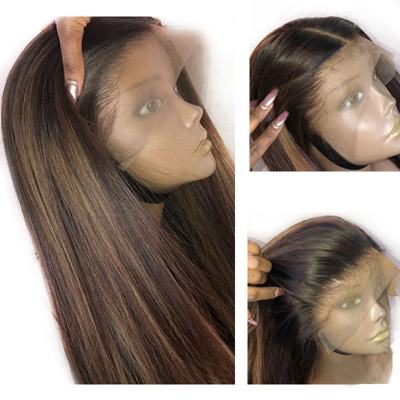 Wigs Lace-Frontal Human-Hair Straight Black Indian 360 Honey Highlighte Blonde Remy Colored title=