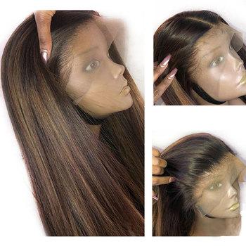 Miód blond Highlighte kolorowe peruki z ludzkich włosów Preplucked 360 koronkowa peruka z przodu czarne kobiety prosto Indian Remy koronkowa peruka na przód tanie i dobre opinie ATINA QUEEN Proste Indyjski włosy Remy włosy Ciemniejszy kolor tylko Swiss koronki Średni brąz Średnia wielkość 360 lace frontal wig