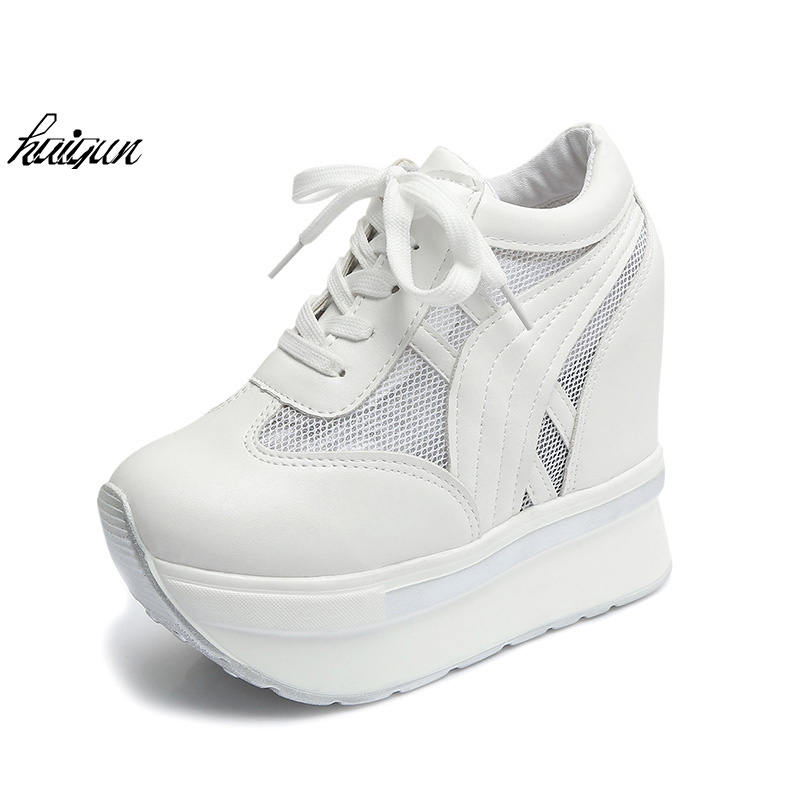 2018 Women Shoes Sexy Wedges Super High Heels 12CM Lace Up White Casual Shoes Women's Party Shoes Chaussure Femme Platform Shoes hot new 2018 spring autumn wedges high heels ladies casual shoes vulcanize women slip on platform shoes female chaussure femme