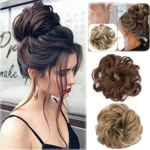 Wedding Hairstyle At Home: Curly Messy Bun Hair Piece Scrunchie Updo Cover Hair