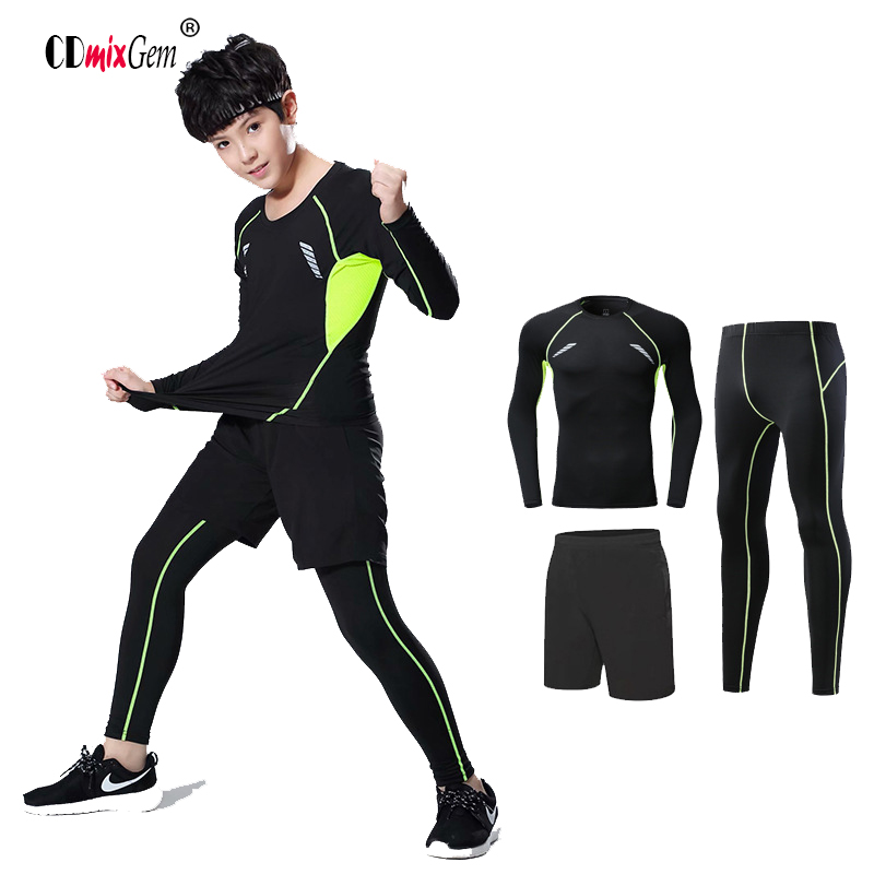 New Long Sleeved Tight Fitting Suit, Boys And Girls, Elastic Fast Dry Pants Three Piece Training Camp Running Kid's Fitness Suit