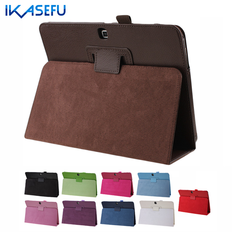 IKASEFU Filp Stand Case for Samsung Tab 4 T530 10.1 inch PU Leather Fundas Coque Tablet Cover For Samsung Galaxy Tab 4 10.1 inch