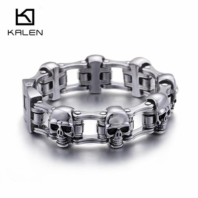 Kalen New 316 Stainless Steel Skull Charm Bracelets For Men Punk High Polished Metal Skull Head Link Chain Male Bracelet Jewelry brand new cross vintage stainless steel animal bracelets men punk style charm anchor bracelets