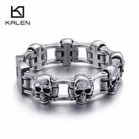 Kalen New 316 Stainless Steel Skull Charm Bracelets For Men Punk High Polished Metal Skull Head Link Chain Male Bracelet Jewelry