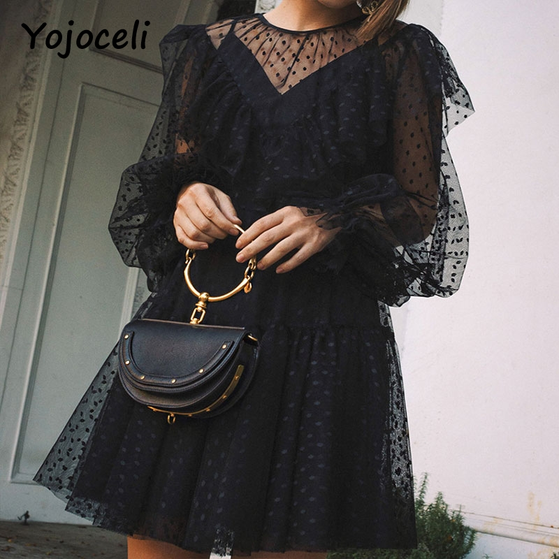 Cuerly sexy party club black mesh lace dress women dot ruffled two pieces set dresses 2019 O neck lantern sleeve female vestidos in Dresses from Women 39 s Clothing