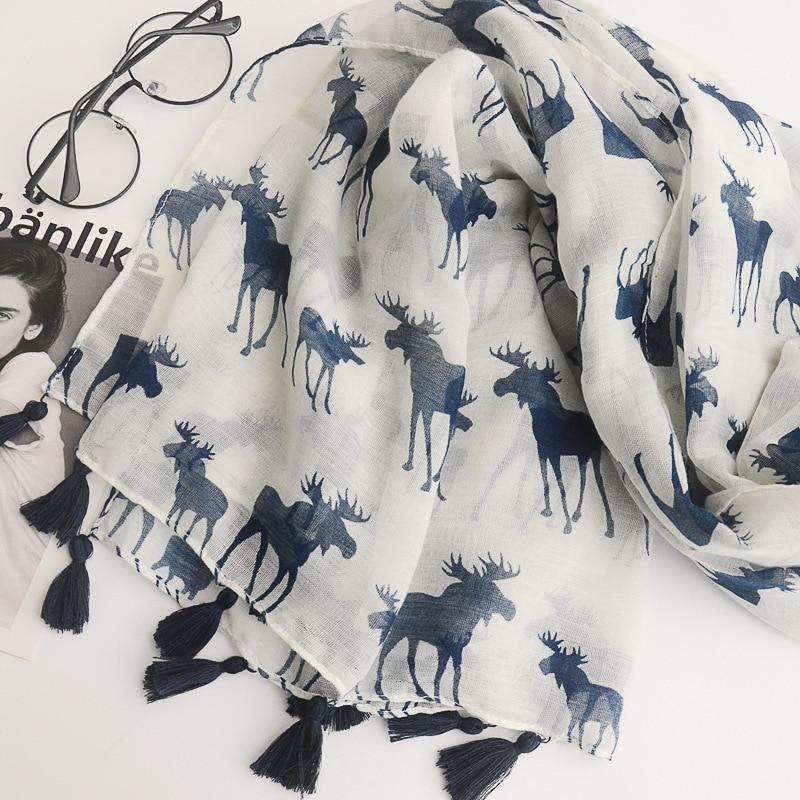 2018 Spring Summer Women Long Tassels   Scarf   Shawls Reindeer   Scarves   Elk Deer Print   Scarf     Wraps   100*180CM