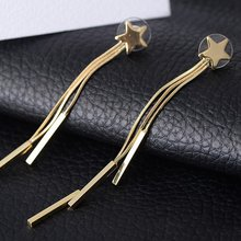 2018 Fashion Long Tassel Earing for Women Gold & Silver Color Star Earring Earrings Hot Wedding Jewlery(China)