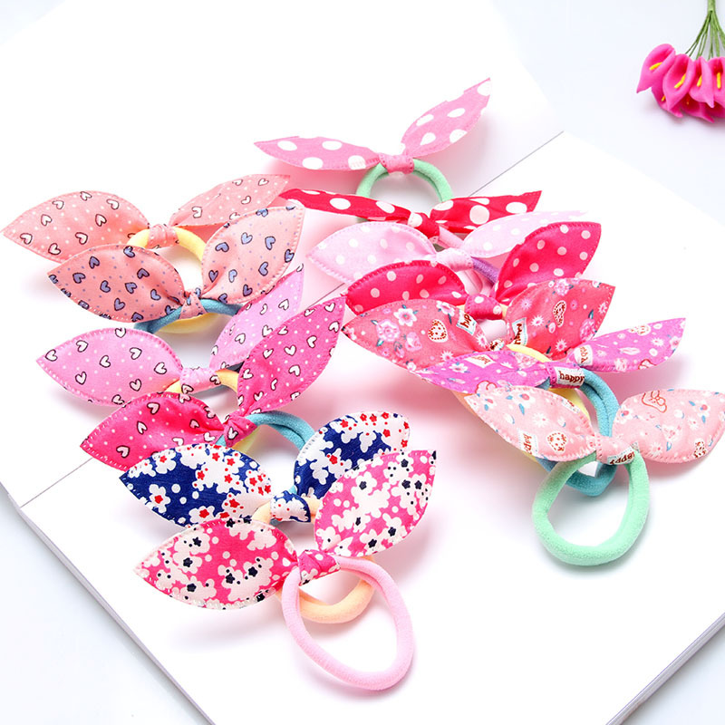 10Pcs Fashion Girls Hair Band Flower Polka Dot Bow Rabbit Ears Headband Ring Scrunchy Kid Ponytail Holder Mix Hair Accessories m mism new arrival korean style girls hair elastics big bow dot flora ponytail rubber hair rope hair accessories scrunchy women
