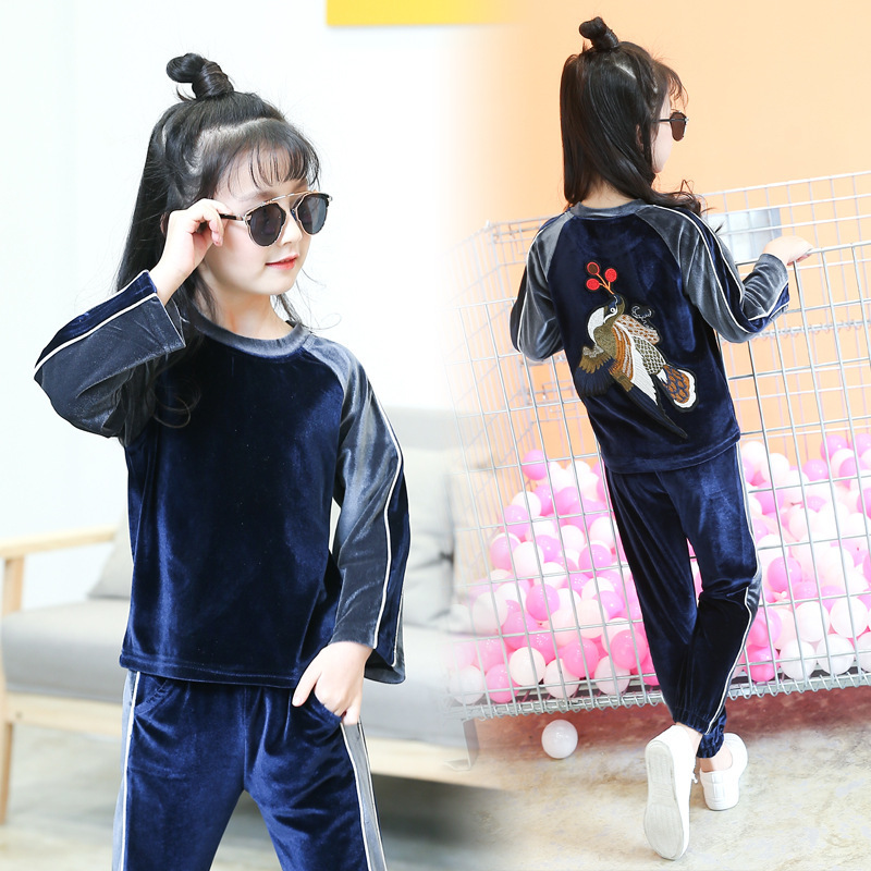 Girl Suit Spring Clothes New Pattern Velvet Athletic Wear 2 Pieces Kids Clothing Sets Suits spring clothes new girl tidal range child cowboy salopettes children cartoon suit 2 pieces kids clothing sets suits