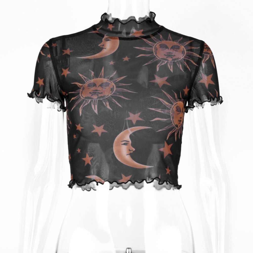 Moda przepuszczalność sweter urlop szczupła Fit z długim rękawem damska koszulka damska księżyc drukowane Crop Top siatki letnie miękkie Sexy
