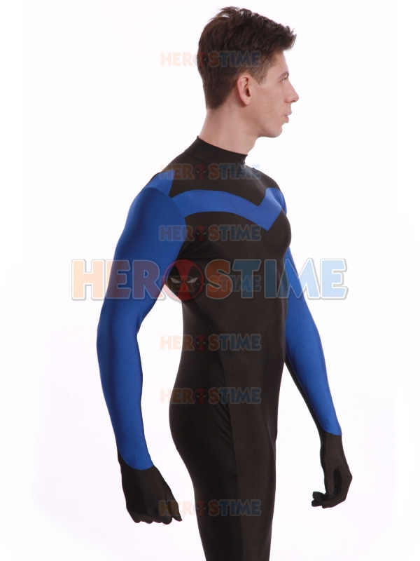Blue and Black Spandex Lycra Nightwing Superhero Costume The Most Popular Halloween Male Cosplay Show Halloween Zentai Catsuit