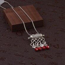 TopHanqi, женские цыганские украшения, богемные Этнические красные натуральные каменные подвески, ожерелья, металлические тибетские серебряные цепочки, ожерелье для женщин